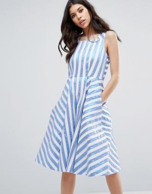 Closet London Платье миди в полоску металлик. Цвет: мульти