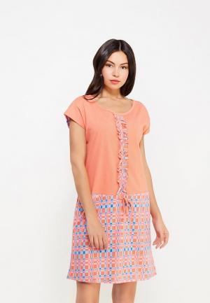 Платье домашнее Vis-a-Vis. Цвет: оранжевый