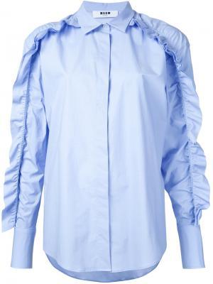 Рубашка с оборками MSGM. Цвет: синий