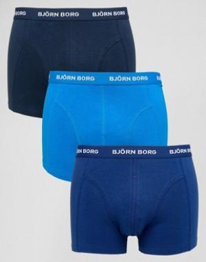 Bjorn Borg Набор из 3 пар синих боксеров-брифов. Цвет: синий