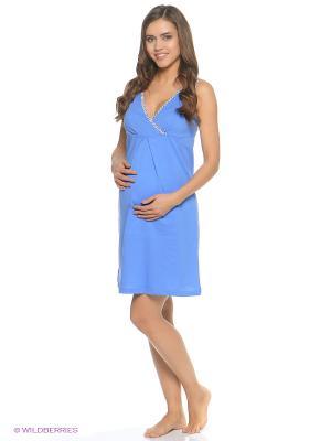 Ночная сорочка для беременных и кормления 40 недель. Цвет: синий