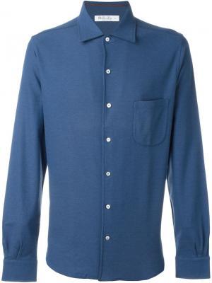 Классическая рубашка Loro Piana. Цвет: синий