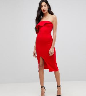 True Violet Tall Структурированное платье-бандо с оборкой и разрезом. Цвет: красный