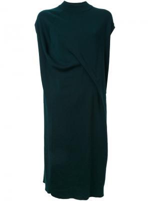 Асимметричное платье с запахом Enföld. Цвет: зелёный