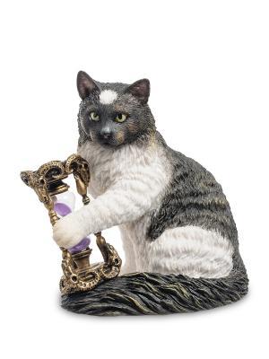 Статуэтка Кот с песочными часами Veronese. Цвет: белый, черный