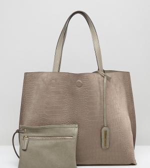 Street Level Песочная сумка-тоут из искусственной замши с крокодиловым рисунком Str. Цвет: бежевый