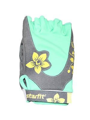 Перчатки для фитнеса STARFIT SU-112,. Цвет: бирюзовый, желтый, серый