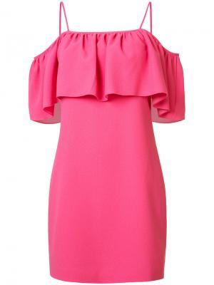 Платье с рюшами на тонких лямках-спагетти Trina Turk. Цвет: розовый и фиолетовый