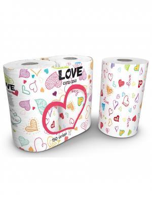 Полотенца кухонные Love серия Kartika 2-х слойные с рисунком, 2 рулона по 75 листов World Cart. Цвет: белый
