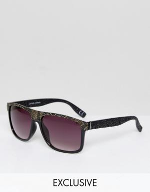 Jeepers Peepers Snake Print Flat Top Visor Sunglasses with Gradient Le. Цвет: черный