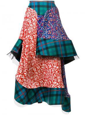 Многослойная юбка в шотландку Esteban Cortazar. Цвет: многоцветный