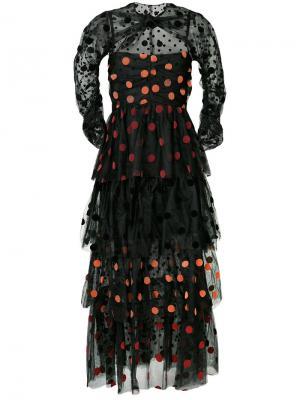 Платье с многоуровневым подолом из тюля в горох Isa Arfen. Цвет: чёрный