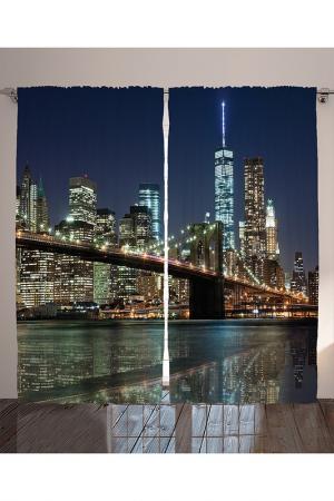 Комплект штор, 290x265 см MAGIC LADY. Цвет: синий, коричневый