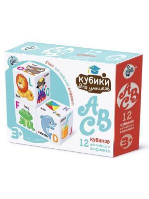 Кубики для умников. Английский алфавит 12 шт (белые) Десятое королевство. Цвет: светло-голубой, белый, светло-коралловый