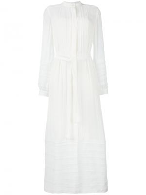 Кружевное платье с вышивкой Oscar de la Renta. Цвет: белый