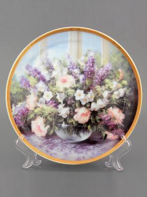 Тарелка декоративная Летний букет Elan Gallery. Цвет: сиреневый