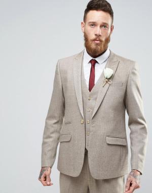 ASOS Бежевый пиджак скинни из ткани с добавлением шерсти Wedding. Цвет: бежевый