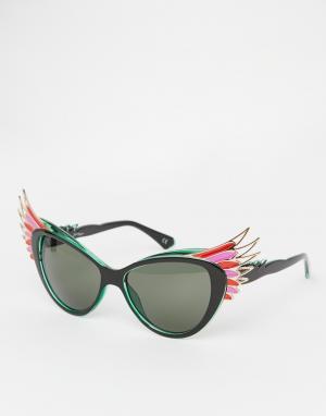 Jeepers Peepers Солнцезащитные очки кошачий глаз с птичьим дизайном. Цвет: мульти