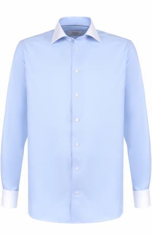 Хлопковая сорочка с воротником кент Eton. Цвет: голубой