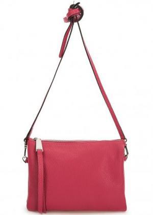 Кожаная сумка с тонким плечевым ремнем Abro. Цвет: фуксия