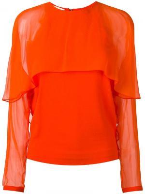 Блузка с прозрачными панелями Antonio Berardi. Цвет: жёлтый и оранжевый