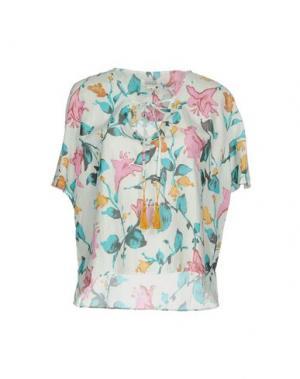 Блузка 100X200 CENTOXDUECENTO. Цвет: цвет морской волны