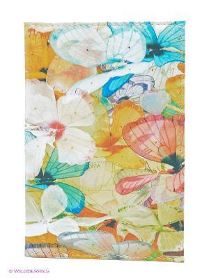 Обложка для автодокументов Цветные бабочки Mitya Veselkov. Цвет: желтый, голубой, розовый
