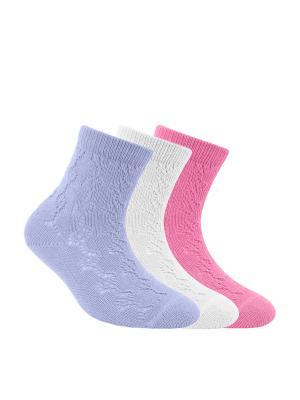 Носки MISS 7С-76СП комплект 3 пары Conte Kids. Цвет: белый, малиновый, фиолетовый