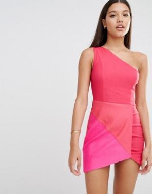 Rare Облегающее платье со вставками London. Цвет: розовый