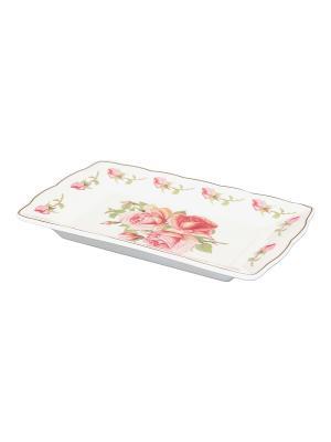 Тарелка под масло Розовая фантазия Elan Gallery. Цвет: белый, розовый