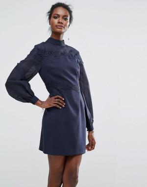 Keepsake Платье мини с расклешенными рукавами и вышивкой. Цвет: темно-синий