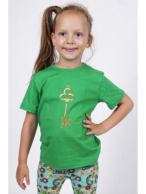 Футболка Золотой ключик Emily Rise. Цвет: зеленый