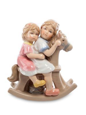 Статуэтка Девочки на лошадке (Pavone) Pavone. Цвет: голубой, белый, розовый