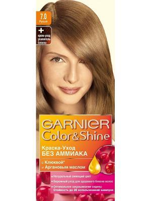 Краска-уход для волос Color&Shine без аммиака, оттенок 7.0, Русый Garnier. Цвет: золотистый