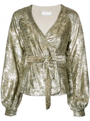 Блузка с поясом металлическим блеском Co. Цвет: металлический