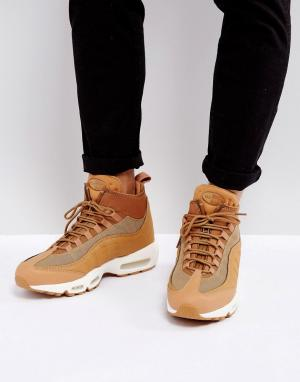Nike Бежевые кроссовки Air Max 95 Sneakerboots Flax 806809-201. Цвет: бежевый