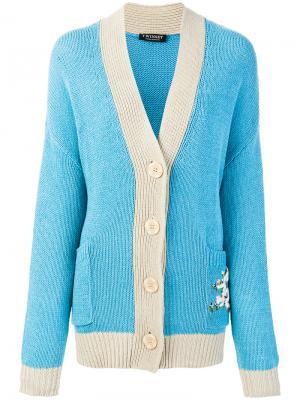 Кардиган с вышивкой Love Twin-Set. Цвет: синий
