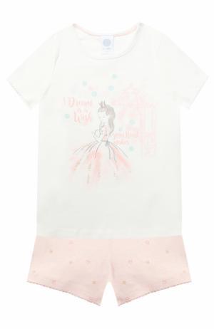 Хлопковая пижама из шорт и футболки Sanetta. Цвет: кремовый