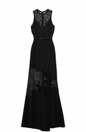 Платье-макси с поясом и кружевными вставками Elie Saab. Цвет: черный