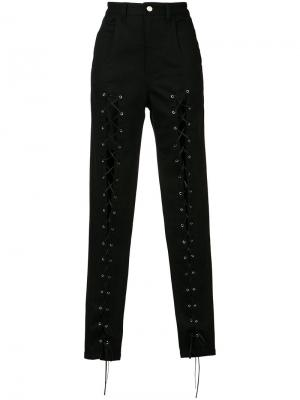 Lace front trousers Sally Lapointe. Цвет: чёрный