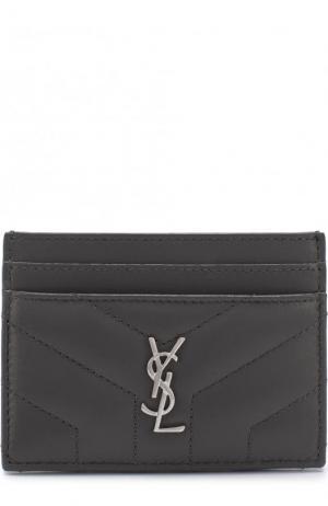 Кожаный футляр для кредитных карт Saint Laurent. Цвет: темно-серый