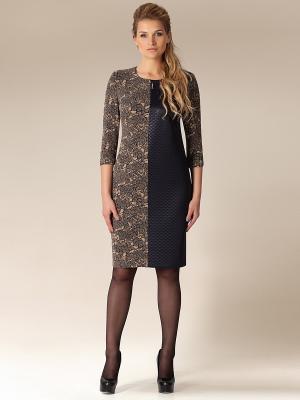 Платье Amelia Lux. Цвет: темно-бежевый, темно-синий