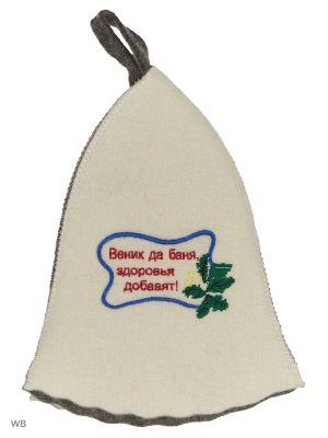 Шапка для бани с вышивкой в косметичке Старший по бане Метиз. Цвет: серый, белый, голубой