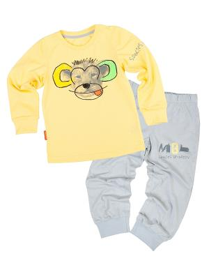 Пижама VATAGA. Цвет: желтый, серый