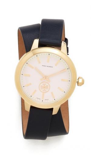 Часы с кожаным ремешком Collins Tory Burch