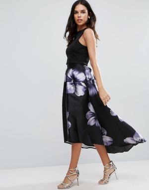 Jessica Wright Юбка миди с цветами и удлиненной спинкой. Цвет: черный