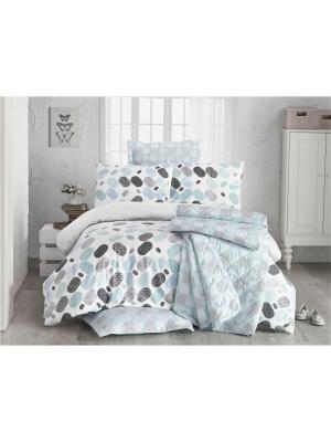 Комплект постельного белья LOVABLE mavi/blue/голубой, ранфорс, 140ТС, 100% хлопок, евро ISSIMO Home. Цвет: голубой