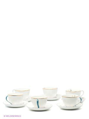 Чайный набор на 6 перс. Песня Мотылька (Canzone Falena Pavone) Pavone. Цвет: белый, голубой, золотистый