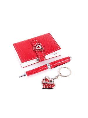 Подарочный набор: ручка, визитница, брелок Русские подарки. Цвет: темно-красный