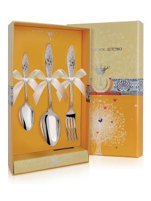 Набор десертный Морозко (ложка+ложка чайная+вилка) пр.925 + футляр АргентА. Цвет: серебристый